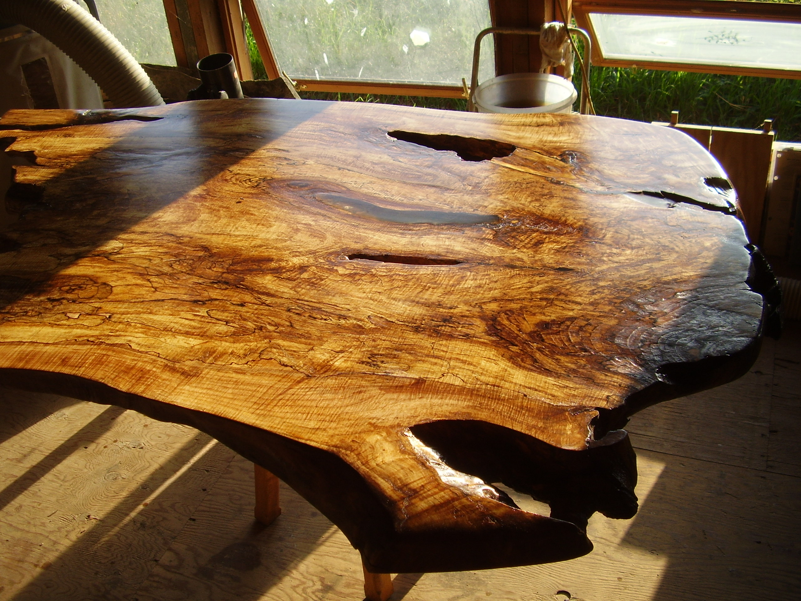 Amazing Flitch Cut Spalted Maple Coffee Table Slab Epoxy