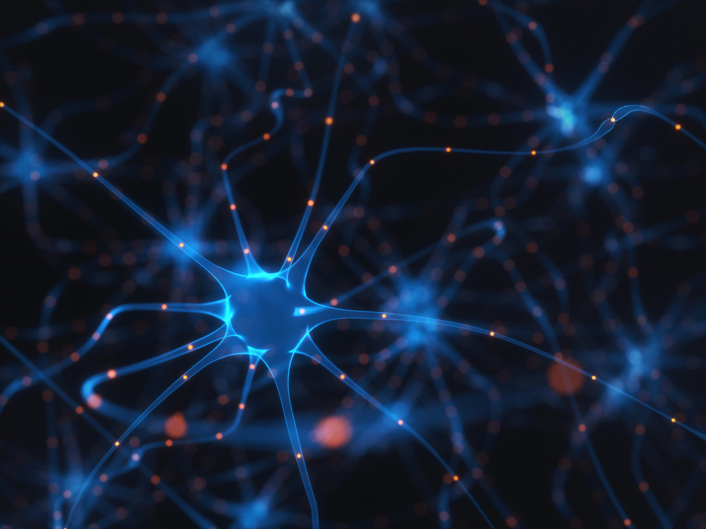 A bright blue neuron pulsing in a network of blue synapses