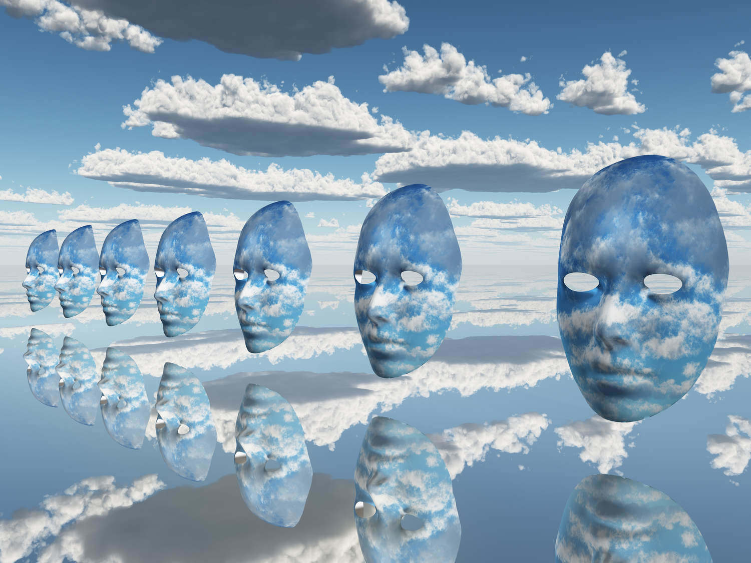 Masks of faces repeated in clouds