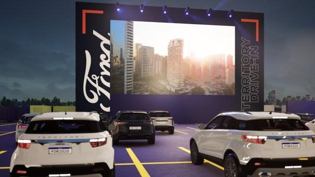 Projeção em 3D do drive-in da Ford, no shopping Eldorado, em São Paulo (Divulgação)