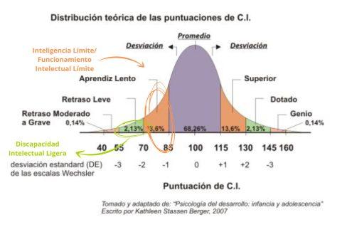 Gráfica sobre distribución del CI de la población