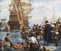 This image has an empty alt attribute; its file name is mayflower-pilgrims.jpg