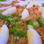 Pictured is Pancit Palabok.  It was on Wikipedia.