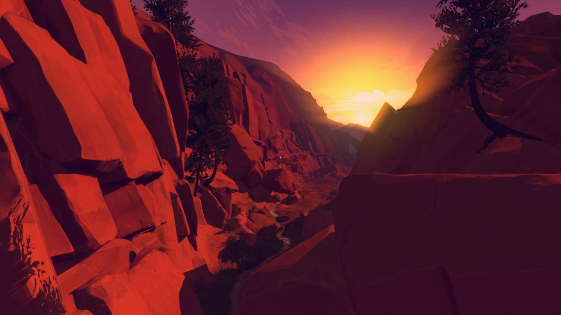 A rocky canyon at sunset.