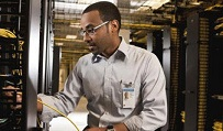 A Dell employee at company data center