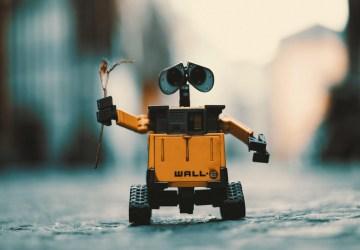 Wall-E hält Blume hoch