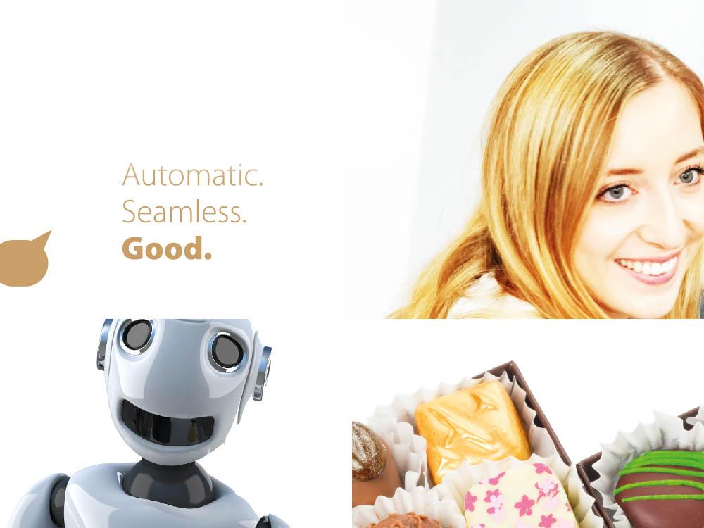 Title, smiling woman, smiling bot, pralines