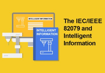 "Chart in yellow and blue with the slogan ""The IEC/IEEE 82079 and Intelligent Information"""