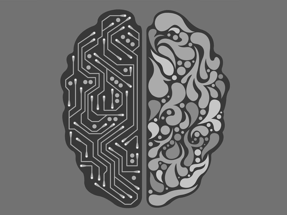 Die Form eines Gehirns: eine Hälfte ist organisch, die andere sieht wie ein Schaltplan aus.