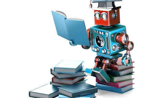 Retro-Roboter, der ein Buch liest.