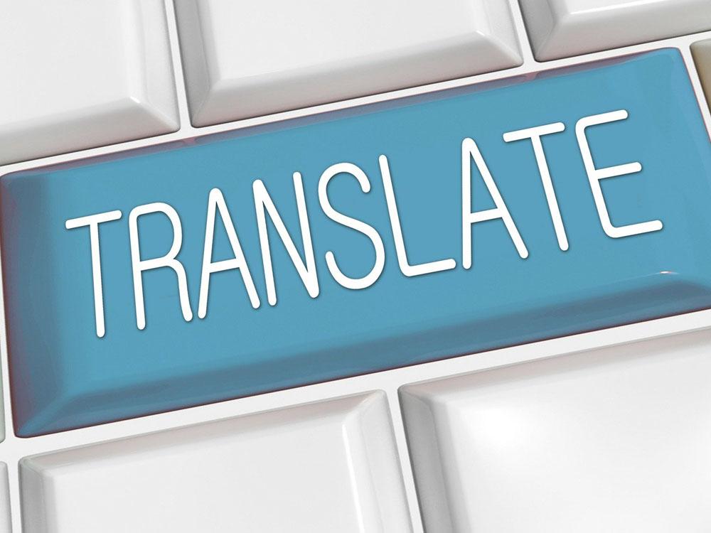 """großer blauer """"Übersetzen""""-Button"""