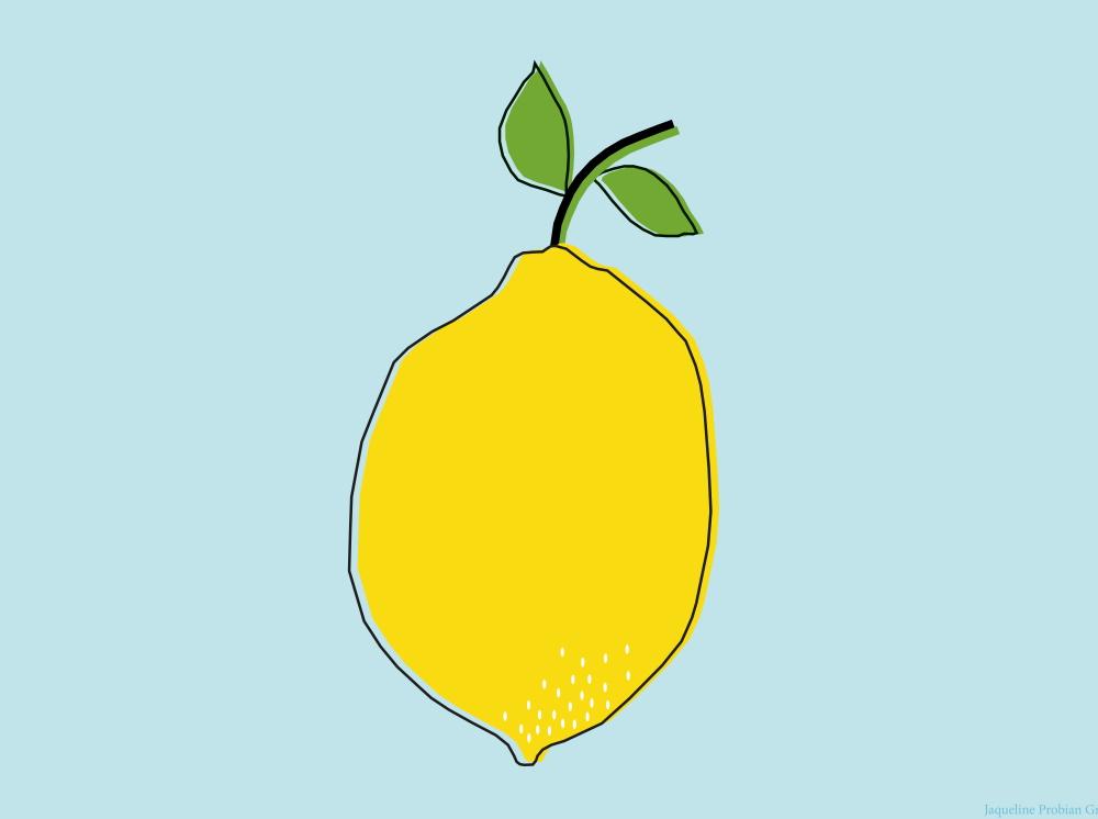 Gezeichnete Zitrone auf hellblauem Hintergrund