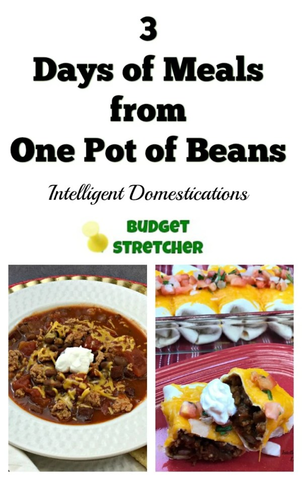 How to cook 3 days of meals from one pot of beans. Yes you do need to cook a lot of beans but you also get three different meals from it.