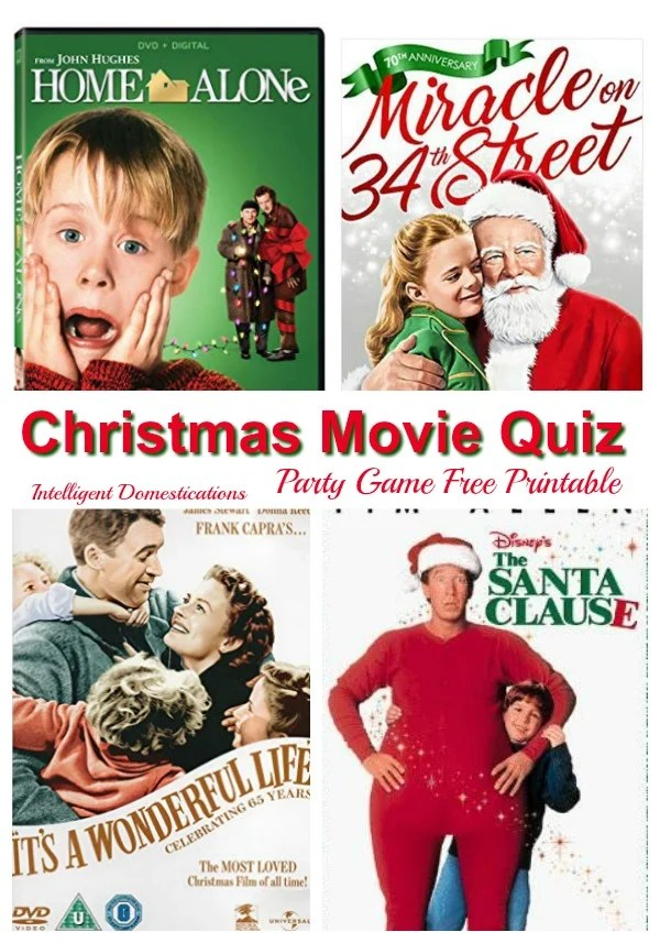 Printable Christmas Movies Quiz party game with pictures of DVD covers of Christmas movies