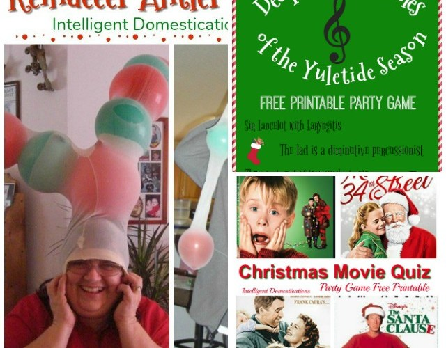 Three Christmas Party Game ideas including Reindeer Antler Game, Decipher the Canticles and Christmas Movie Quiz