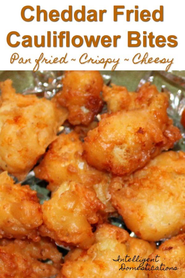 Easy recipe for pan fried cheesy cauliflower bites. A delicious alternative to boring cauliflower. #cauliflower