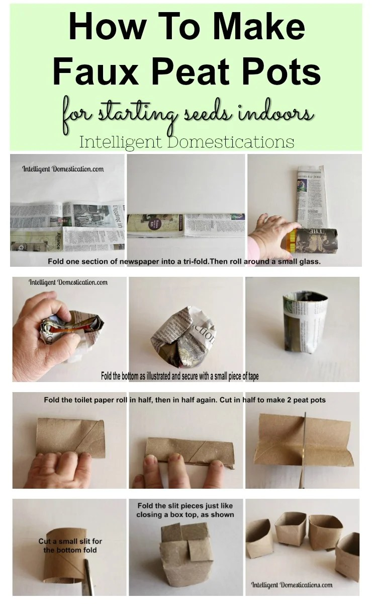 How to make faux peat pots for starting seeds indoors. Start seeds indoors in the winter using these frugal DIY Faux Peat Pots. Toilet paper rolls and newspaper can be used to make faux peat pots. #diypeatpot #upcycletoiletpaperroll