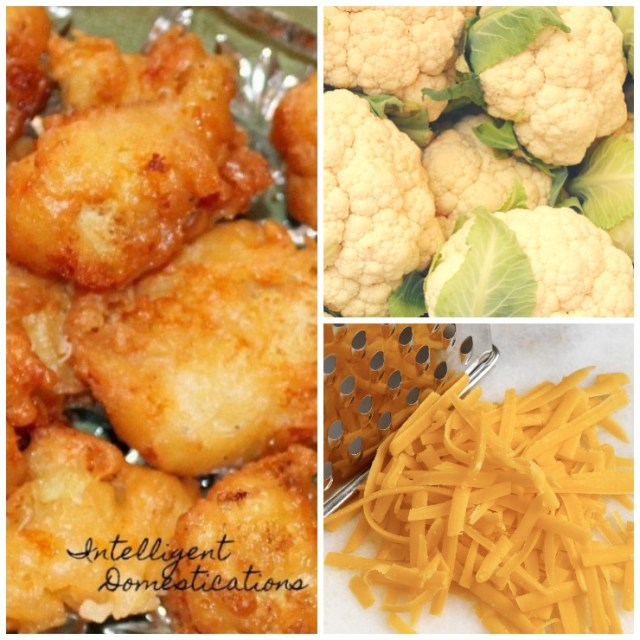 Easy recipe for pan fried cheesy cauliflower bites. We made these for a football party snack. Also a good way to get the kids to eat their cauliflower. #cauliflower