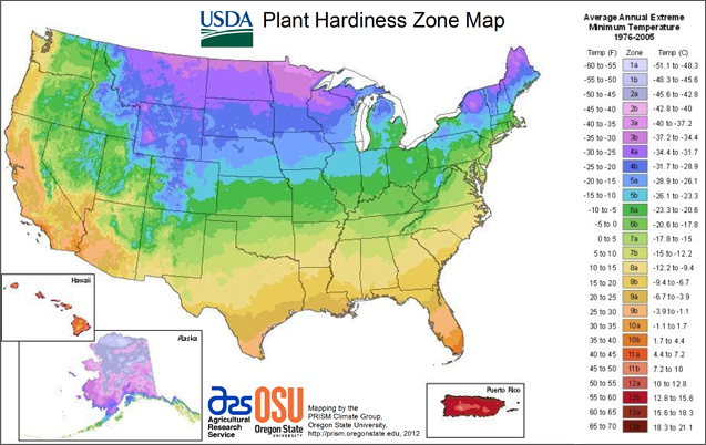 USDA Plant Hardines Zone Map