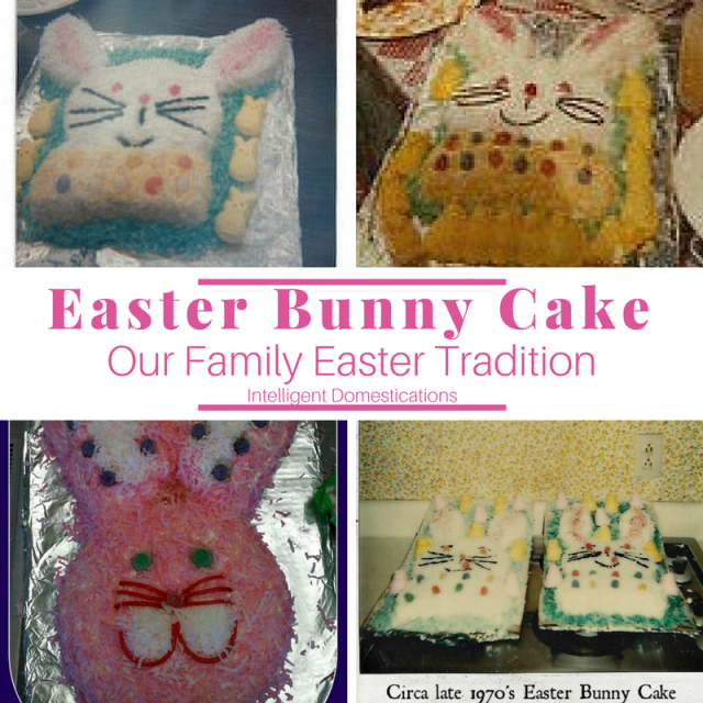Our family Easter Bunny Cakes through the years. How to make an Easter Bunny cake with two round cakes