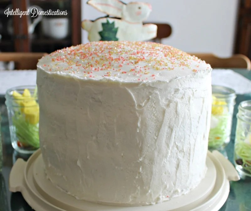 Rainbow Four Layer Cake for Easter.intelligentdomestications.com