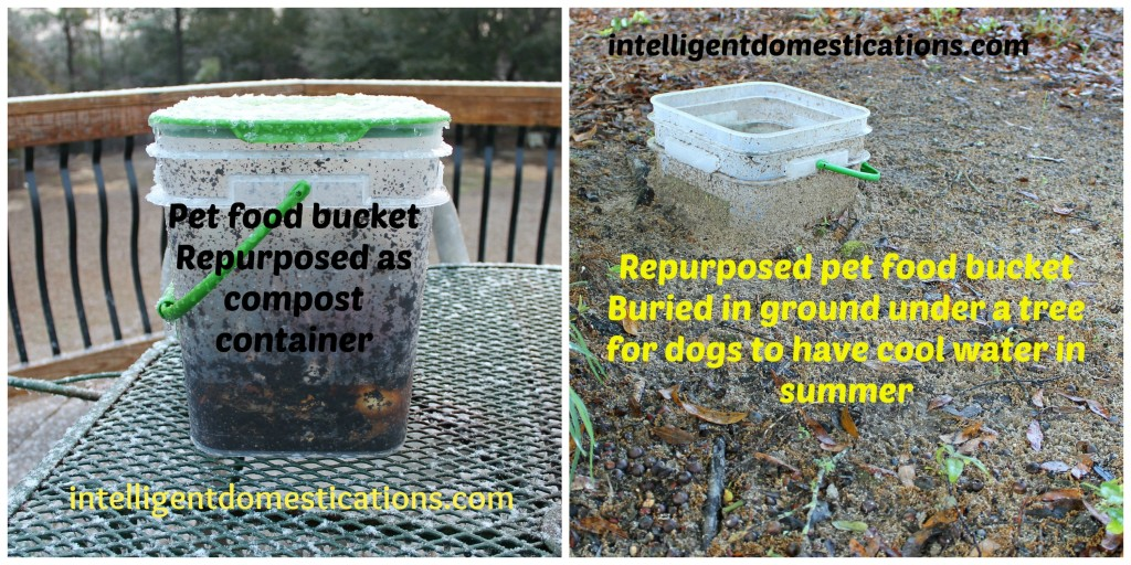 Repurposed pet food buckets by intelligentdomestications.com