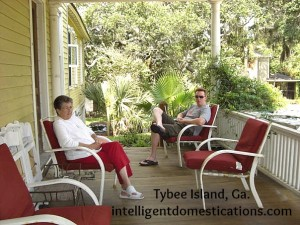 Stacy and Mom on Side porch outside of Mom's room at B&B, Tybee Island. intelligentdomestications.com