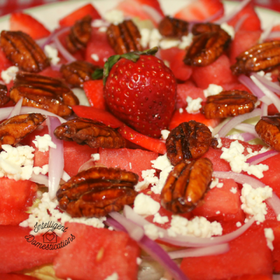 Watermelon Strawberry Salad with feta and candied pecans