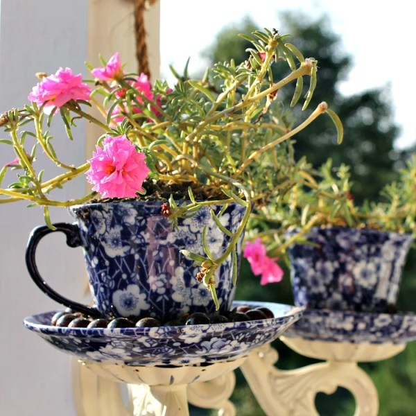DIY Tea Cup Sconce Porch Planter upcycle project. This is an easy project using glue and pretty things for your porch. Pink portulaca in small container. #pinkportulaca