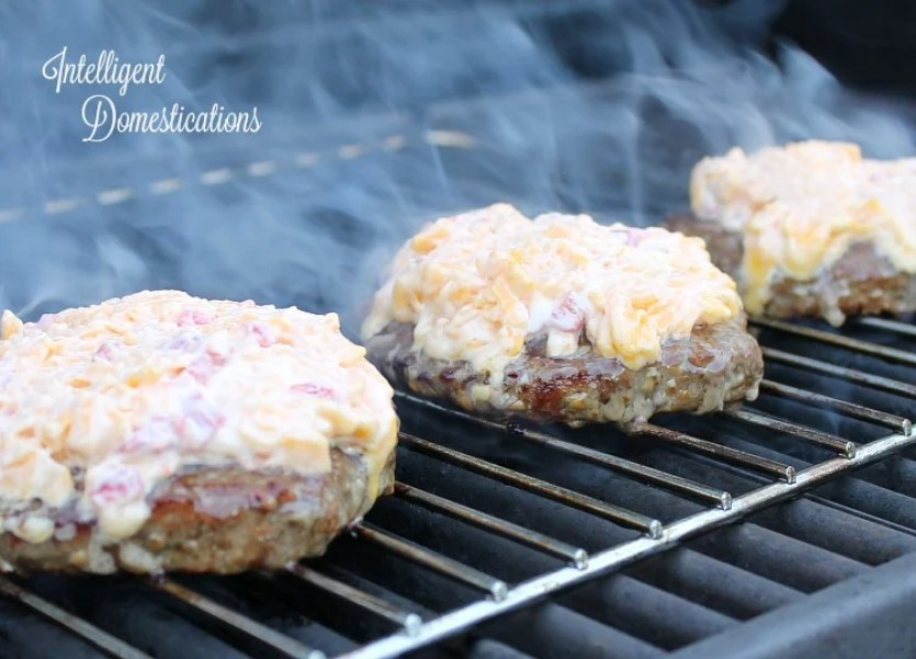 Homemade Pimento Cheese Burgers on the grill