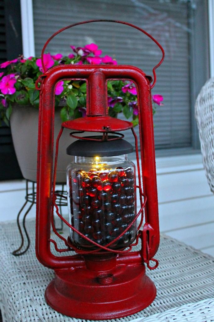 Lantern with solar light glow at Dusk.intelligentdomestications.com