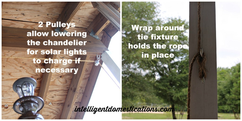 Pulley system for solar porch chandelier allows lowering when charging is needed.intelligentdomestications.com