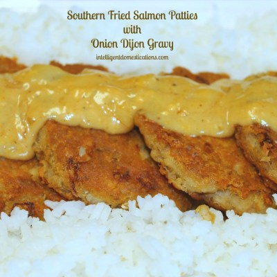 Fried Salmon Patties with Onion Dijon Gravy