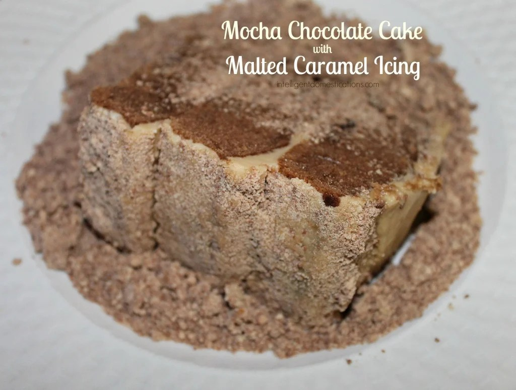 Big Slice of Mocha Chocolate Cake with Malted Caramel Icing Surrounded and covered by crushed malted milk balls. by intelligentdomestications.com