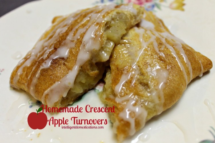 Homemade Crescent Apple Turnovers sliced and ready to enjoy.intelligentdomestications.com