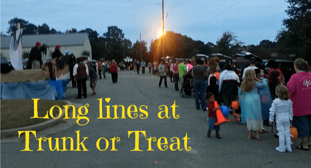 lines at a Trunk or Treat event