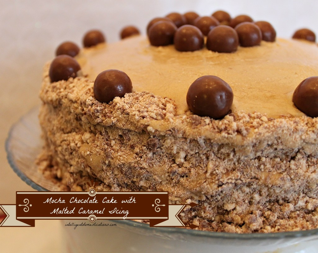 Mocha Chocolate Cake with Malted Caramel Icing Decorated with Malted Milk Balls. Two Layers.by intelligentdomestications.com