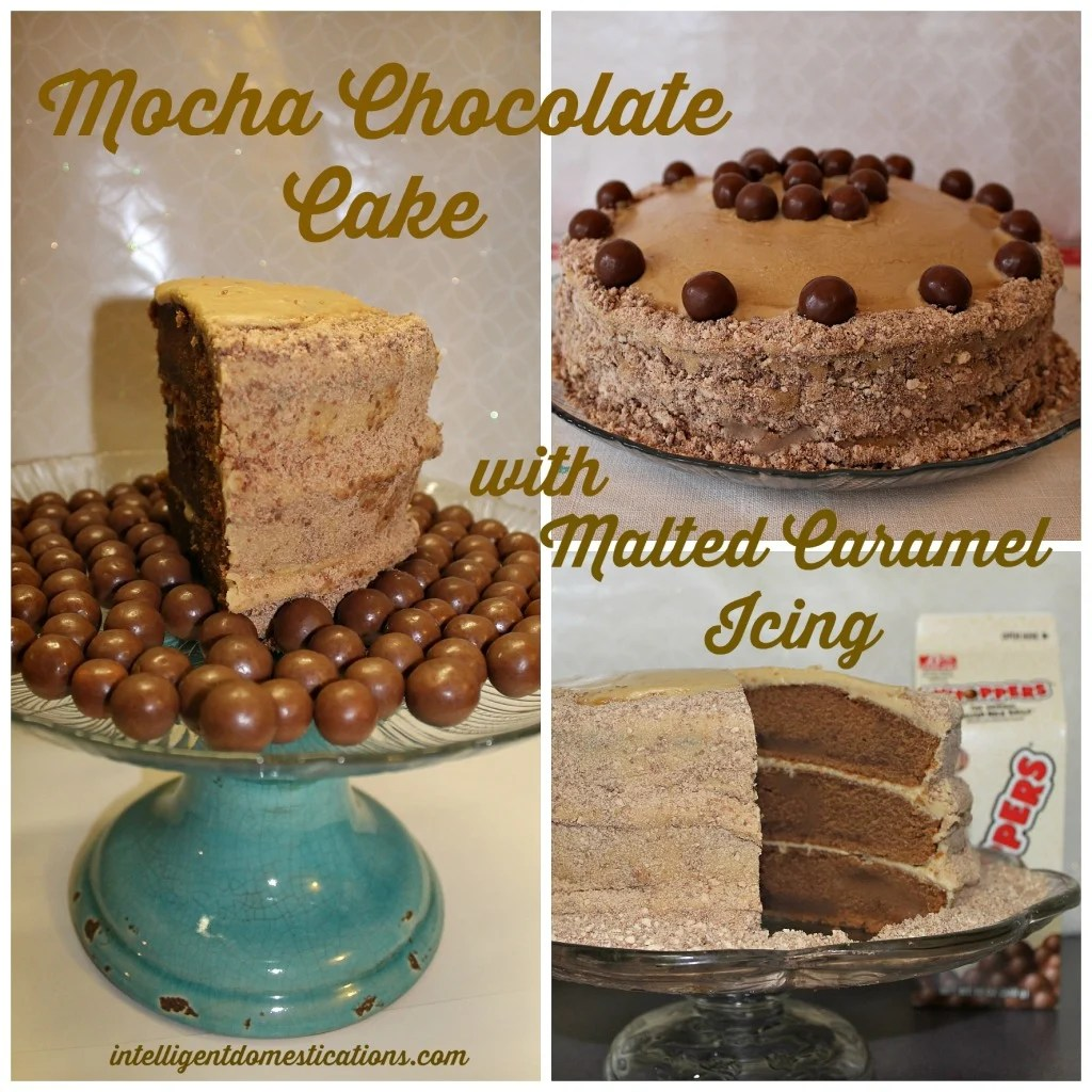 Mocha Chocolate Cake with Malted Caramel Icing. Used Crushed Whoppers for added chocolate in the caramel icing. by intelligentdomestications.com
