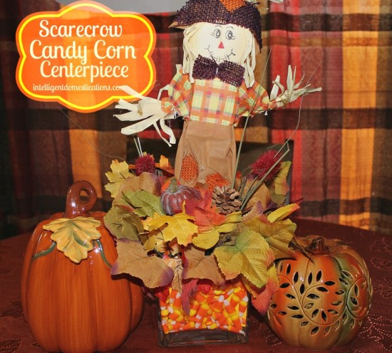 Scarecrow Candy Corn Centerpiece 2 by intelligentdomestications.com