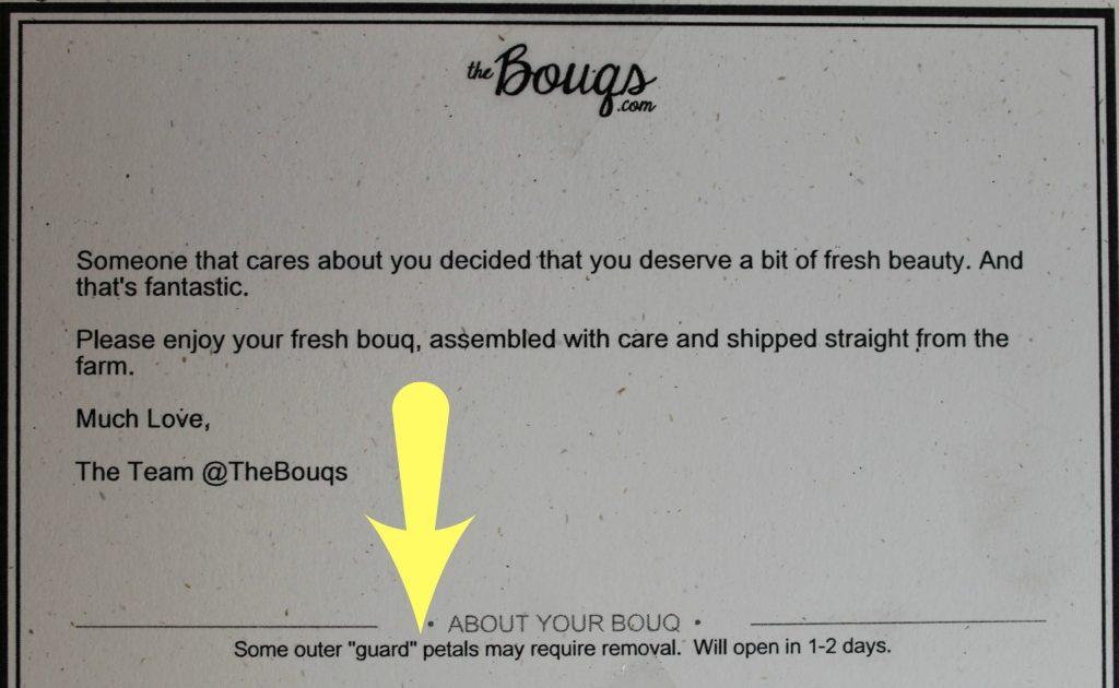 Bouqs greetings card