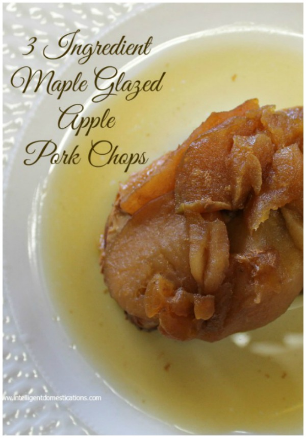 Three Ingredient Pork Chop recipe. 3 Ingredient Crockpot Maple Glazed Apple Pork Chops. Crockpot recipes . #crockpotrecipe #porkchops #recipe #applerecipe #fallfood #weeknightmeal