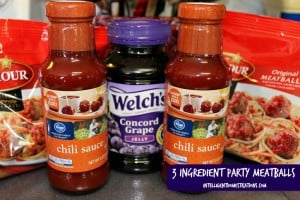 Grape jelly and chili sauce and frozen meatballs
