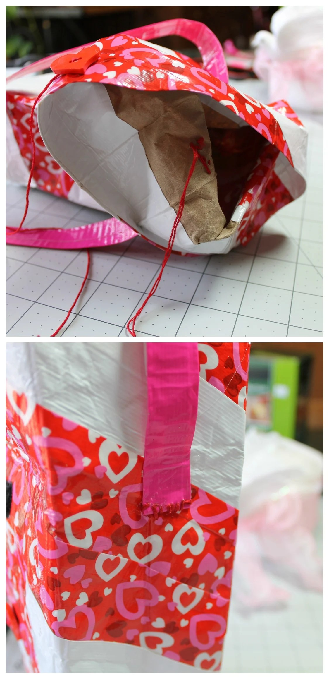 Sewing the buttons and handles onto the Valentine Duck tape lunch bag.intelligentdomestications.com