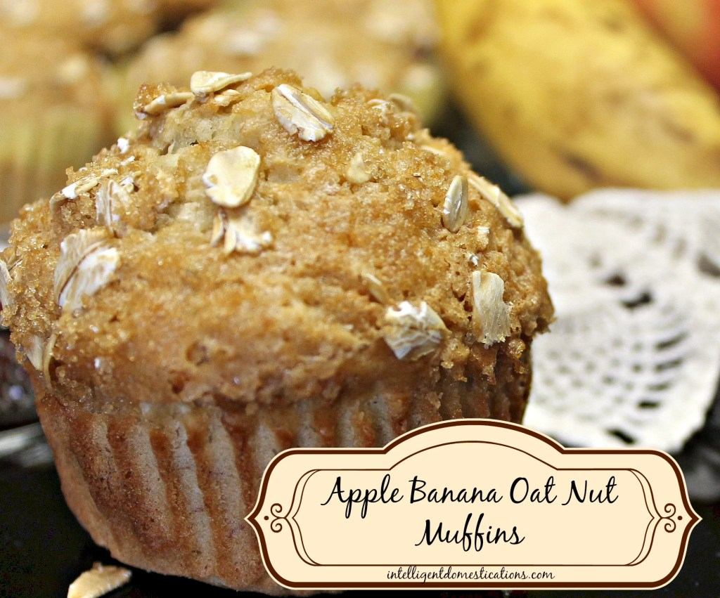 Apple Banana Oat Nut Muffins. Find this recipe at www.intelligentdomestications.com