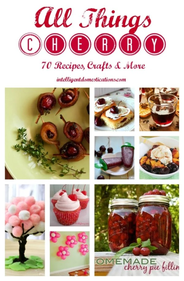 Cherry recipes pictured served on white plates. Canned cherry pie filling pictures in Mason jars