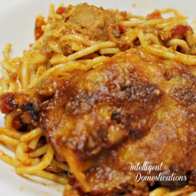 Two Meat, Two Cheese Baked Spaghetti & Meatballs