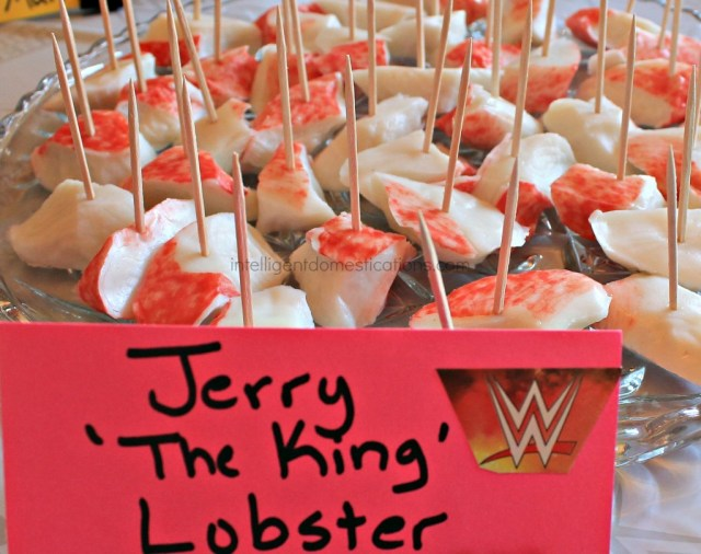WWE Theme Party Ideas with recipes and decor. WWE Party. Serve your guest some Jerry the King Lobster at your WWE Theme party.Ideas at intelligentdomestications.com