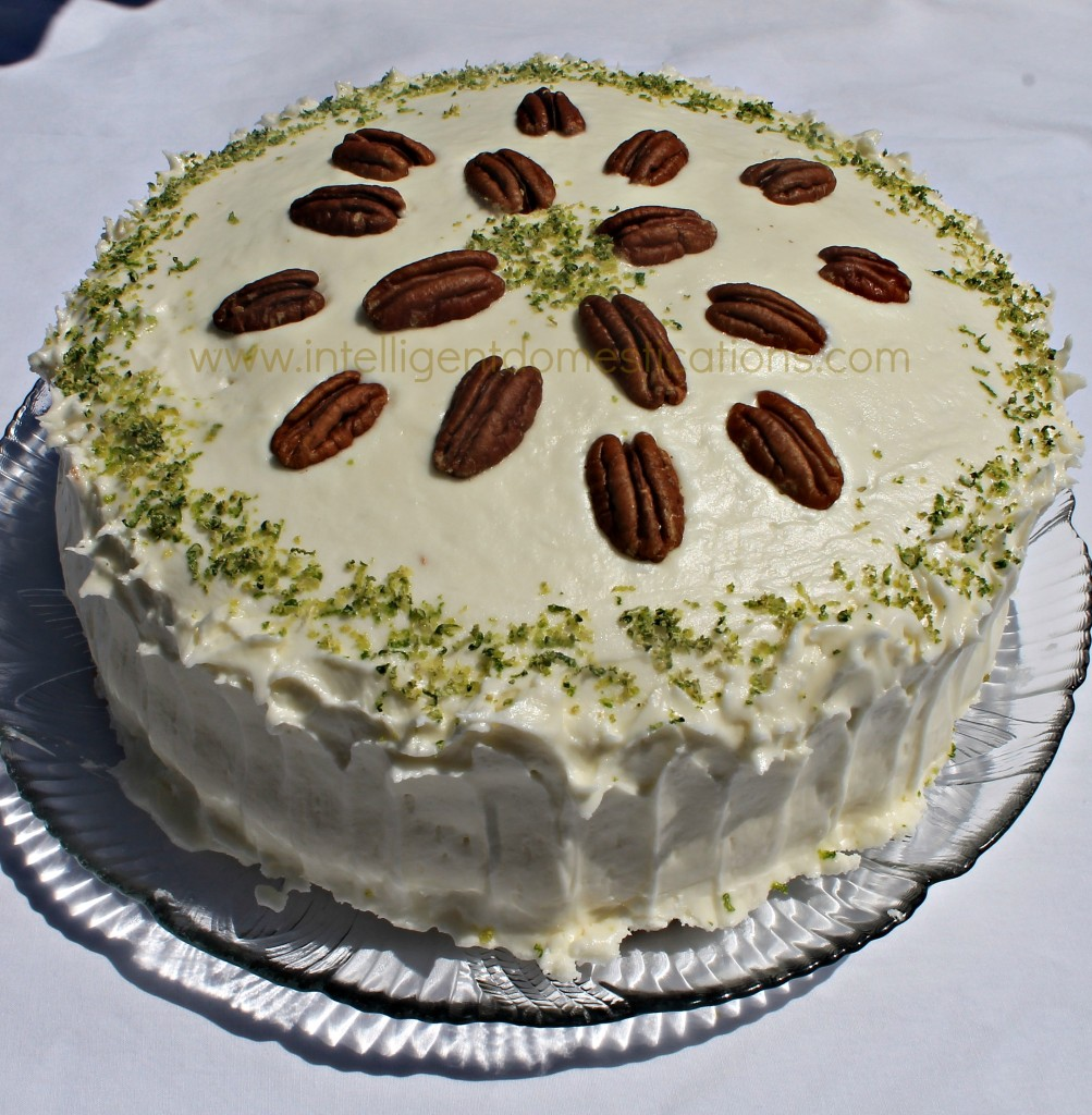 Key Lime Cake with Key Lime Cream Cheese Frosting recipe. How to make a Key Lime Cake. Tricks with cake mix. St. Patrick's Day dessert Key Lime Cake on a plate #keylime