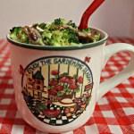 Broccoli Salad served in theme mug