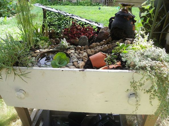 Fairy Garden made in an old drawer